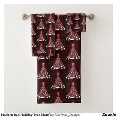 Modern Red Holiday Tree Motif Bath Towel Set Bath Towel Sets, Bath Towels, Holiday Tree, Christmas Items, Holiday Outfits, Christmas Card Holders, Keep It Cleaner, Colorful Backgrounds, Party Supplies
