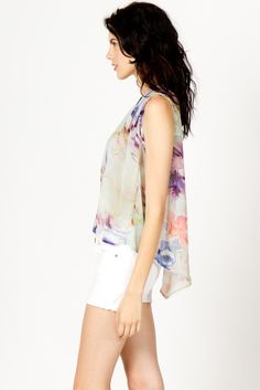 Watercolor Floral Sleeveless Blouse | a-thread