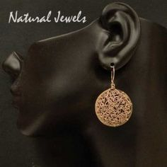 Golden Organic Discs - 14K Goldfilled wire Earrings - Made by Natural Jewels