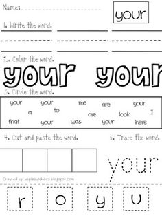 Sight Word Practice for Kindergarten Bundle - 75 high frequency words. Great for morning work. $10