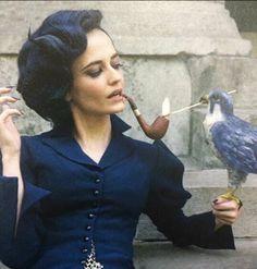"Eva Green as Miss Peregrine Tim Burton's ""Miss Peregrine's Home for Peculiar Children"" Eva Green, Desenhos Tim Burton, Miss Peregrine's Peculiar Children, Peregrine's Home For Peculiars, Miss Peregrines Home For Peculiar, Tim Burton Films, Penny Dreadful, Portraits, Women Smoking"