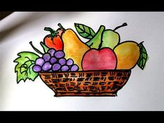 How to draw fruits in a basket Fruit Basket Drawing, Fruit Bowl Drawing, Fruits Drawing, Easy Art For Kids, Easy Drawings For Kids, Colorful Drawings, Watercolor Fruit, Fruit Painting, Painting For Kids