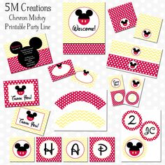 Chevron Mickey Mouse Party Decorations - Mickey Mouse Printable Package - Mickey Birthday Banner - Invitation - Mickey Cupcake Toppers. $30.00, via Etsy.