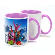 With a high gloss finish, ceramic mugs are a great way of personalising with an image or logo. Two Tone Mugs are available in different interior colours - red, blue, green, yellow & pink. Personalised Mugs, Ceramic Mugs, Colorful Interiors, Colours, Ceramics, Tableware, Prints, Red, Ceramica