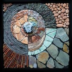 Earth in Pieces Kathy Thaden / Thaden Mosaics. All rights reserved. Pebble Mosaic, Mosaic Wall Art, Mosaic Diy, Mosaic Garden, Mosaic Crafts, Mosaic Projects, Stone Mosaic, Tile Art, Pebble Art