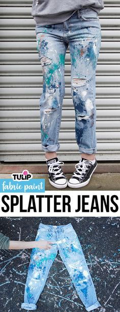 DIY Splatter Paint Jeans dont buy new! Upcycle your jeans from last season wi … – 2019 - Denim Diy Tulip Fabric Paint, Fabric Painting, Fabric Art, Diy Jeans, Diy Clothes Jeans, Painted Jeans, Painted Clothes, Diy Clothes Paint, Backless Shirt