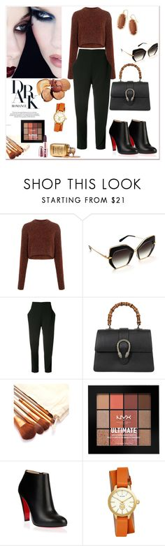 """""""Dark Romance"""" by tattooedmum ❤ liked on Polyvore featuring TIBI, Maticevski, Gucci, NYX, Christian Louboutin, MAC Cosmetics, Tory Burch, Kendra Scott, contestentry and falloutfit"""