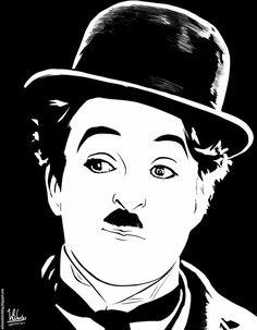 Algodão-Doce Heros Film, Charly Chaplin, White Art, Black And White, Wood Burning Stencils, Silkscreen, Celebrity Caricatures, Art Africain, Silhouette Art