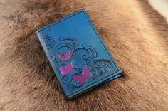 Butterfly leather journal Travel journal passport cover