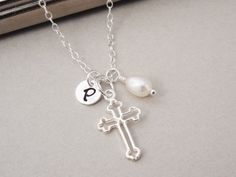Silver Cross Necklace Sterling Silver by BeautifulAsYou on Etsy