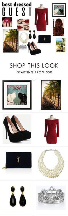 """#bestdressedguest"" by aninha-136 ❤ liked on Polyvore featuring Pottery Barn, Chicwish, Yves Saint Laurent, Emily & Ashley, napa, winerywedding, bestdressedguest and vineyardwedding"