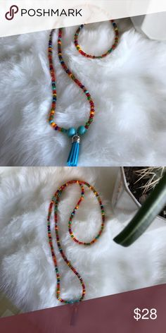 NEW Glass tassel necklace Turquoise and multi glass beads with a tassel long so easy on and off never worn New katdjewelry Jewelry Necklaces