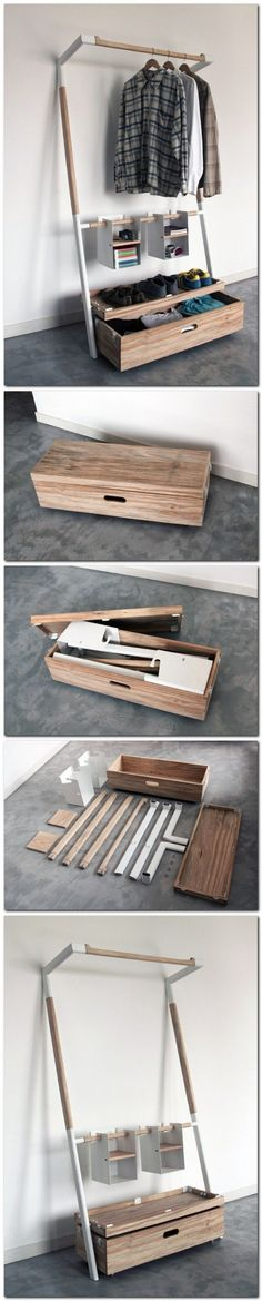 """Arara Nomade"" by Oboio Design Studio. Provides the Tools to Organize Your Wardrobe in a Compact Case. Designing the parts to assemble without the use of tools. ___________ nice for portability for papa basement?"