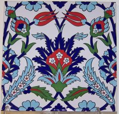 "Iznik Red Tulip & Blue Carnation Pattern 8""x8"" (20cmx20cm) Turkish Ceramic Tile #WallDecor"