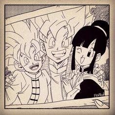 Dbz, Goku And Gohan, Dragon Ball Z, Dragon Art, Goku Manga, Goku And Chichi, Arte Sailor Moon, Z Arts, Boy Art
