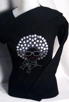 Afrolista Natural Hair Rhinestone Shirt by TheNameArtist on Etsy, $27.99