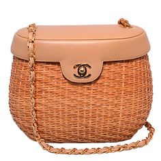 Chanel Tan Leather and Wicker Basket Shoulder Bag | From a collection of rare vintage shoulder bags at https://www.1stdibs.com/fashion/handbags-purses-bags/shoulder-bags/