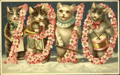 1910  New Year Dates Cats