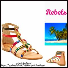 "❗️1-HOUR SALE❗️Gladiator LEATHER SANDALS Short Gladiator Jeweled Strappy Flat Ankle Strap Sandals  NEW WITH TAGS  * High quality construction.  * Back zip closure.  * Short multi strap vamp  * An open toe style, approx 5"" shaft height  * Flat ballet style sole, about .75"" high heels; Approx 9"" opening  * Embellished & embroidered metallic jewels  * True to size  Material: Leather upper & rubber sole  Color: Floral Jewels & Natural Item:96900  No Trades ✅ Offers Considered*✅ *Please use the…"
