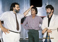Francis Ford Coppola, Michael Jackson and George Lucas.  Together, these 3 have a higher net worth than Canada.  (Just kidding.  That's totally false.)  Picture taken in 1985 during production of Captain EO.