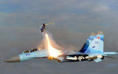 Su-27 ejection seat in action