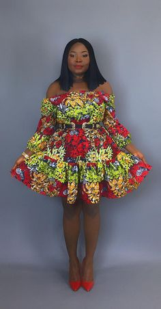 Nia ankara africain wax print print dress robe jupe for Qu est ce qu une robe de trompette