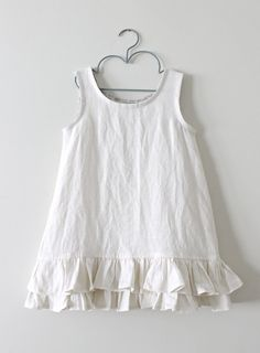 Girls Ruffled Rustic Linen Cream PinaforeBaby by ChasingMini