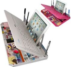 Amazon.com: Bluetooth 6 in 1 Keyboard and Organizer with Tablet Stand Rest Color: White: Computers & Accessories GREAT FOR A DORM