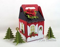 Come see how I made this red house for my Charming Cottage Box village. Christmas Gift Box, Christmas Crafts, Christmas Decorations, Xmas, Diy Crafts Vintage, Easy Diy Crafts, Foam Crafts, Paper Gift Box, Paper Gifts
