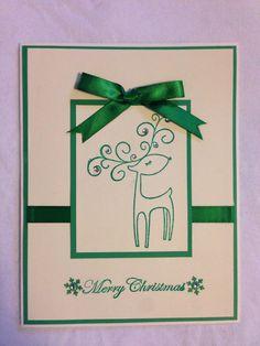 Handmade card, Christmas, deer, merry Christmas, green, snowflake