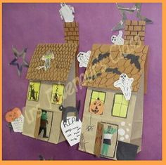 haunted houses made from brown lunch bags