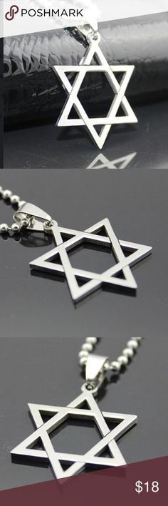 Stainless Steel Star of David Beautiful polished stainless steel star of David with long ball chain. Jewelry Necklaces