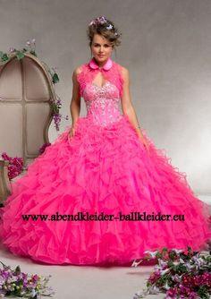 Herz Dekoltee Abendkleid Ballkleid in Pink