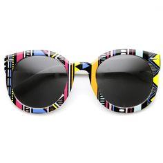 Womens Indie Fashion Oversize Round Native Print Round Sunglasses 9379   zeroUV