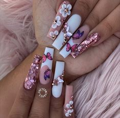 Acrylic Nails Coffin Pink, Square Acrylic Nails, Cherry Nails, Cute Acrylic Nail Designs, Crazy Nails, Instagram Nails, Manicure E Pedicure, Fire Nails, Dream Nails