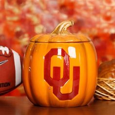 Oklahoma Sooners Ceramic Pumpkin Jar