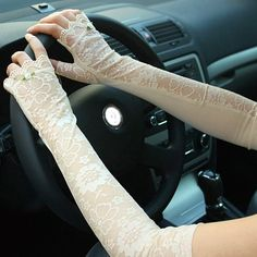 Probably not what you were thinking when you talked about buying me fingerless driving gloves, but they are cute. Pair of Sweet Flower Pattern Gloves For Women - Sammy Dress. Off-White Lace Gloves, Fingerless Gloves, Prom Dresses, Formal Dresses, Sammy Dress, Flower Patterns, I Dress, Off White, Pairs