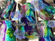 Items similar to GEODE tumbler- glitter- Ozark Trail- Yeti- coffee cup-travel mug-stainless steel- custom-multi color on Etsy Resin Crafts, Diy Crafts, Paint Dipping, Hydro Dipping, Ozark Trail, Glitter Cups, Personalized Cups, Tumbler Cups, Cricut Design