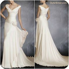 V-neck# A-line #Sweep/ Brush Train #Sleeveless # Wedding Gowns # (Style Code: 05089) US$179.00