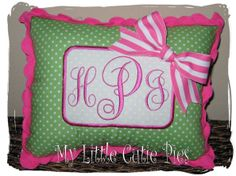 Custom Monogram Girls Green Pink Personalized Embroidered Name Pillow by MyLittleCutiePies.com for