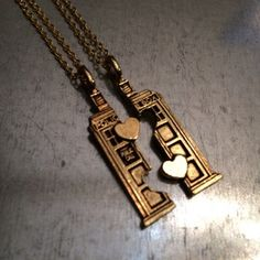 Doctor Who TARDIS Gold Plate Phone Booth Double Heart Friendship Necklace | redditgifts