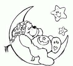 Dibujos de la luna para colorear: fotos diseños para niños - Oso amoroso en la luna