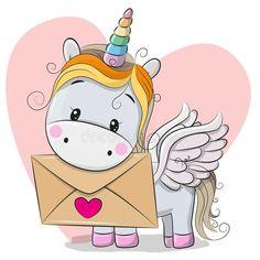 Illustration about Valentine card with cute cartoon Unicorn holding envelope. Illustration of label, beautiful, fairy - 108314257 Unicorn Drawing, Cartoon Unicorn, Cartoon Cartoon, Unicorn Art, Funny Unicorn, Valentine Cartoon, Unicorn Valentine, Unicorn Birthday, Unicornio Poster