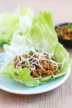 Lettuce wraps - ground chicken lettuce wraps, PF Chang's copycat recipe. A homemade, healthy, yummy recipe you can make at home.