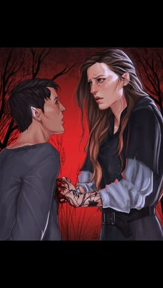 Feyre killing the fairie youth to break the curse by @Merwild