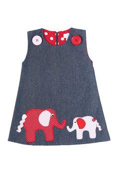 Elephant Appliqué pinafore dress – My CMS Kids Dress Wear, Toddler Girl Dresses, Little Girl Dresses, Girls Dresses, Baby Dresses, Dress Girl, Baby Frocks Designs, Kids Frocks Design, Baby Dress Design