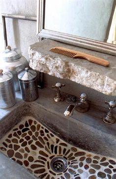 Mosaic pebble stone bathroom sink & rough stone built in shelf - shower floor? Stone Bathroom Sink, Stone Sink, Pebble Stone, Kitchen Sink, Pebble Tiles, Rustic Bathroom Vanities, Concrete Bathroom, Marble Bathrooms, Mirror Bathroom