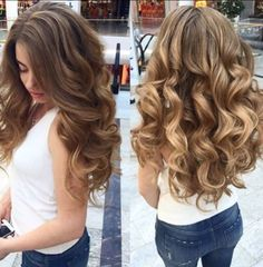 How to Curl Long Thick Hair: Wash hair, towel-dry and comb hair out. Prepping hair to hold the curl is very important. If your hair . Medium Hair Styles, Short Hair Styles, Hair Medium, Coiffure Hair, Hair 2018, Pretty Hairstyles, Hairstyles 2018, Curled Hair Prom, Prom Hairstyles For Long Hair Curly