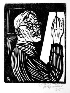 Conrad Felixmuller (1897-1977).  Self-Portrait at the Easel. Original woodcut, 1965.