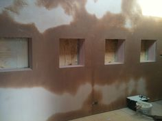 Four Square window frames Edged and Plastered